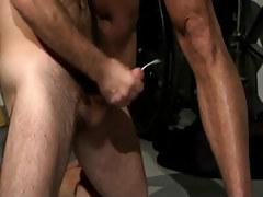 Bear gay cums on floor