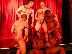 5 sweaty guys rehearse on stage for a real time interracial love making act show