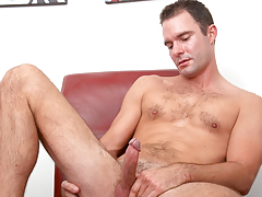 hot calm dude with hairy torso jerks off his tasty cock