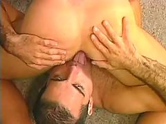 Two sweet dudes play duo blowjob on the floor