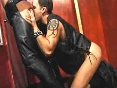Fetish dick-holders in leather fade away dirty and semen on mirror