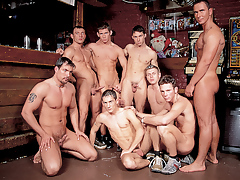 Mega hot hunks in a group gangbang fuck fest happens in a bar