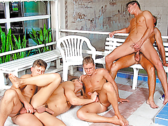 Swim team gangbang ends in Marko getting team-banged & bukkaked