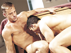 Super sticky male Kyle rides his sexually excited friend's hard gay guy penis !