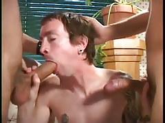 Butt fuckers break in big cock newcomer in 3 video