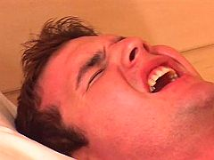 Hunk screaming when huge ramrod penetrates his wazoo