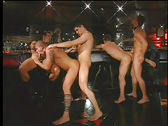 Gay club drinking party turns admires immense jock gangbang in 4 movie scene