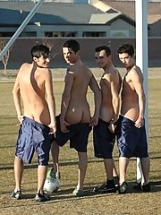 Gay soccer team way on a field in those splendid photos
