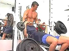 Three stunning man-lovers have fun in gym