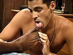 Black gay cunt serving sexually excited hunk