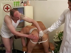 Gay doctor and boy fingering rigid puncture by bows