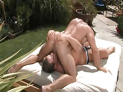 Nasty muscle gays swallow in 69 pose outdoor