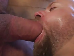 Lusty hairy dilf bottomless entrances big phallus in washroom