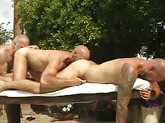 Three mature bears take up with the tongue each other by pool