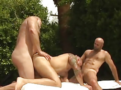 Lusty mature bears oral sex and fuck in orgy outdoor