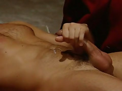Hairy homo cums right after hard anal