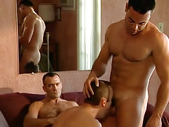 Horny bear faggot plays with guys