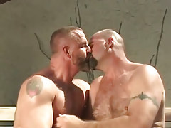 Mature bear gay guys lick outdoor