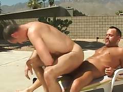 Lusty melodious guy rides phallus of bear homo outdoor