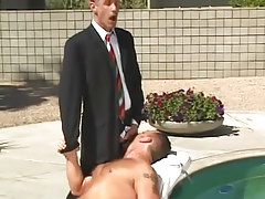 Horny gay guy boss spoils  gentleman by pool