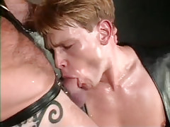 Young gay in leather sucks wang of bear dilf