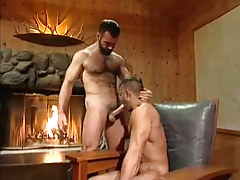 Hot bear guy sucked by fireplace