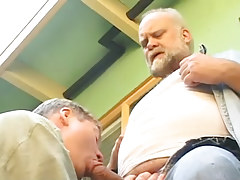 Old gay sucked by lusty dilf outdoor
