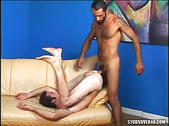 Horny gay dilf fucked by placid hairy man
