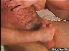 Mature curly homosexual cums