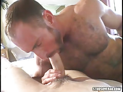 Mature  gay orally fixating appealing dude