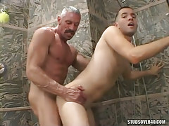 Horny daddy hard sleeps with boyish sub in doggy style