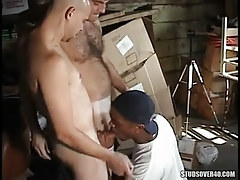 Interracial man-lovers oral sex in gangbang