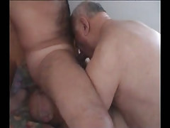 Hairy man sucked and licked by old homosexuals