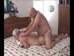 Chubby grown faggot benefits from real anal fuck