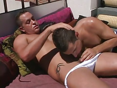 Horny dad sucked by boyish sub on terrace