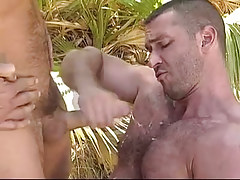 Bear gay boy gets cum in forest