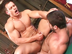 Muscle homosexual cums on curly paunch