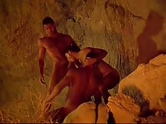Three muscle faggots take in per other in cave