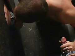 Gay fellow sucks twofold dicks by turns