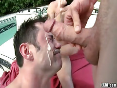 Nasty twinks cock cream by turns on face by pool