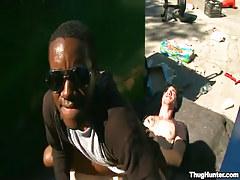 Black boy rides white gay stallion outdoor