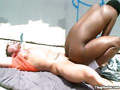 Dark man-lover rides raw cock outdoor