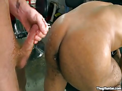 Dark dude acquires cum on sinuous buttocks