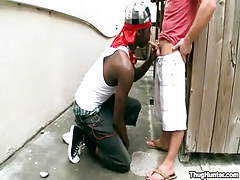 Interracial faggot gay guys engulf outdoor
