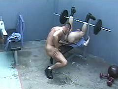 Rough powerful dudes do crazy oral job in prison gym